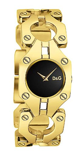 D&G Dolce&Gabbana Women's Quartz Watch with Black Dial Analogue Display and Gold Stainless Steel Strap DW0401 D&G