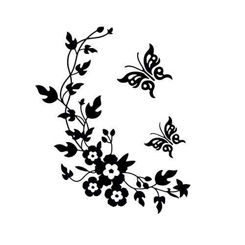 EmmiJules Wandtattoo Blumenranke mit Schmetterling Ranke Flur Wohnzimmer Ornament Schlafzimmer Wandaufkleber Wandsticker Pflanzen Frühling Sommer