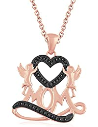 """Silvernshine 1.35Ct Black Mom Heart Pendant 18"""" Chain Necklace In 14K Rose Gold Fn 925 Silver"""