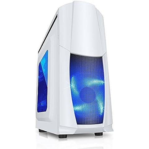 CiT Dragon 3 Caja midi con ventiladores azules led de 12 cm y rejilla lateral  blanco blanco