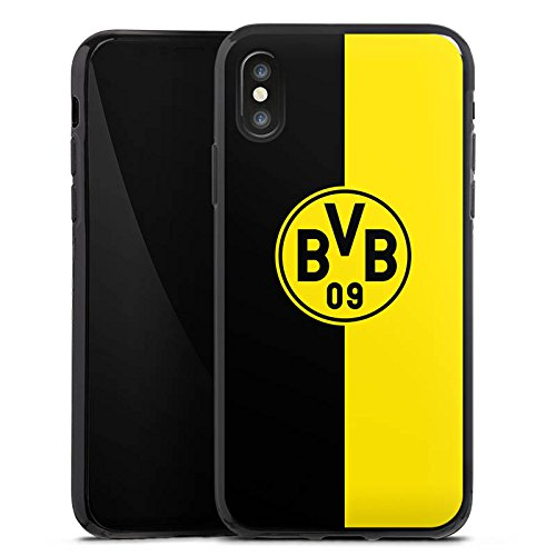Apple iPhone 5s Tasche Hülle Flip Case Borussia Dortmund BVB Logo Silikon Case schwarz