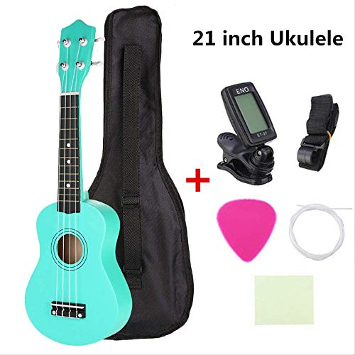 BUBBLE  Ukulele 21-inch Ukulele Beginner Uke Hawaii Bass Guitar Starter Pack With Guitar Bag + Tuner + Pick + Strap + Cleaning Cloth Set - Guitar Bass Pack