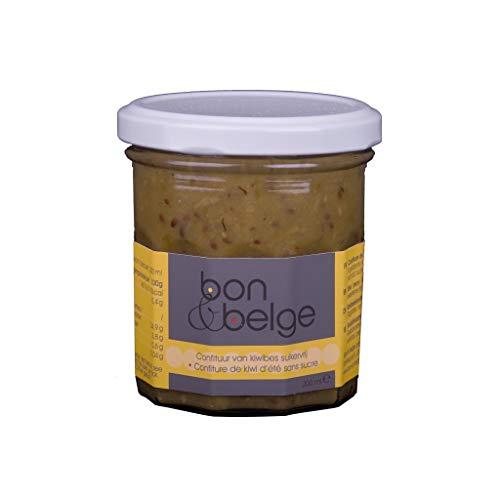 bon & belge - Confiture artisanale Belge au kiwis d'été (80%) sans sucre, très fruitée, naturelle sans arômes ni colorants ni conservateurs. 200g à tartiner.