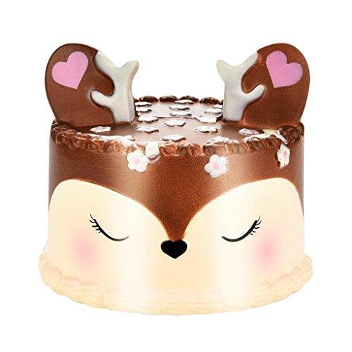 Squishys Kawaii más nuevo lenta Rising Squishie Jumbo, Kawaii Unicorn Cake perfumado encanto blando lenta Rising teléfono celular Simulación ni?o de la llave de juguete colgante de la correa del hogar del regalo de D & eacute; cor (ABCDE colorido) (Brown)