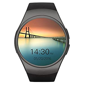 MBT KW18 Waterproof Bluetooth Touch Screen Smart Watch Compatible To Iphone And Andriod Device with function of Pedometer, Heart Rate Monitor and Sim Card Slot Black