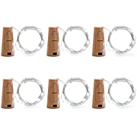 Enjoydeal 6 Pack LED Bottle Cork String Light , 20LED 70in(180cm) Wine Bottle Cork Spark Starry Fairy String Light Battery-operated (Included )Lamp Decoration for Home Decorative,Wine Bottle DIY, Party,Wedding Decorations,Holiday White