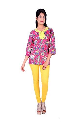 Zagon Shop Women'S Cotton Color Pink Short Curti Kurtis(XL)