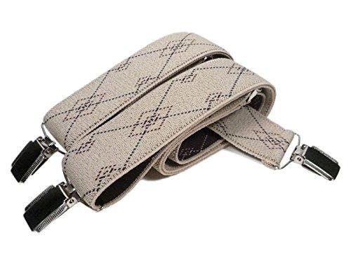 Bretelles entièrement réglable pour Homme / Femme avec 3 Clips - 3.5cm Crème avec Diamants Bourgogne et Bleu