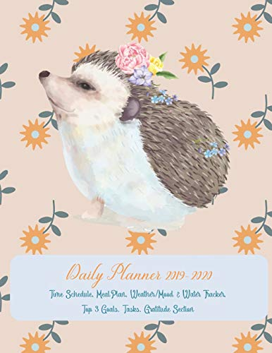 Daily Planner 2019 - 2020 Time Schedule, Meal Plan, Weather / Mood & Water Tracker, Top 3 Goals, Tasks, Gratitude Section: ONE PAGE PER DAY Academic ... / Cover with a Cute Watercolor Hedgehog (Cover Personal Weather)