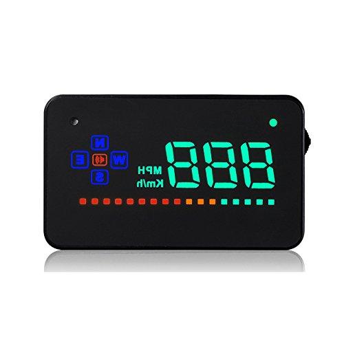 ACBungji HUD Auto KFZ 3.5 Zoll Head Up Display Einfach Und Klar Tacho Geschwindigkeitsmesser KM/h MPH Überdrehzahl Alarm Voltmeter Integriertes GPS Modul Kompass Mit Allen DC 12V Fahrzeugen Kompatibel Ist.