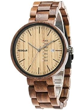 Redear Unisex nat¨¹rlichem Holz Schwarze Walnuss Ein Quarzwerk Armbanduhr mit Kalender Funktion Holzuhr Watch