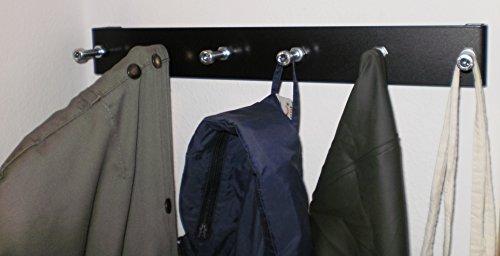 Garderobenleiste schwarz komplett aus Metall mit 6 Zylinderschrauben als Haken auf 40 cm inkl. Befestigungsmaterial