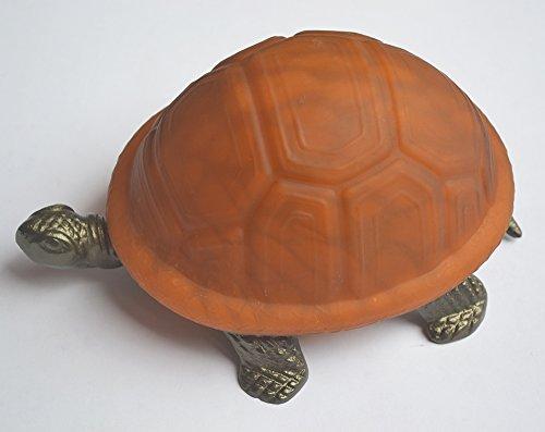 Lampe Tiffany-stil Schildkröte (Braune Farbe Glas Stil Schildkröte Lampe mit Metall Basis 8x5.5x4 Zoll)