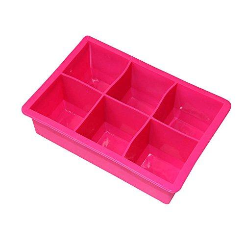 Maker Cube Ice Crushed (AOLVO Extra Groß Eiswürfelform, Silikon Popsicle Maker Pop Up Ice Tablett, 6Mulden Crushed Ice Maker für Whiskey und Cocktails, hält Getränke kühl, rot, Normal)