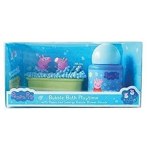 Peppa Pig – Bubble Bath Playtime – Peppa et Georges dans le Bain Moussant + Liquide à Bulles