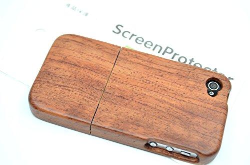 RoseFlower® Coque iPhone 4S / iPhone 4 en Bois Véritable - Lézard noyer - Fabriqué à la main en Bois / Bambou Naturel Housse / Étui avec Gratuits Film de Protecteur Écran pour votre Smartphone Bois derose