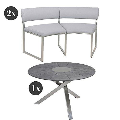 Gartenmöbel-Set Zebra Tisch Oryx Ø135 cm mit Sela-Tischplatte und 2x Zebra Bank Oryx platin