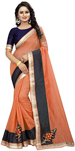 Shreeji Designer Women's Chanderi Cotton Fabric Embroidery Work Orange Color Traditional Saree...