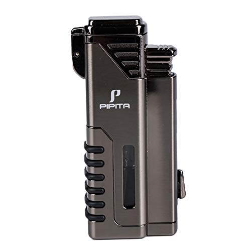 Windproof Cigar Lighter 4 Torch Metal Gas Cigarette Butane Lighter Jet Blue Flame Refillable Lighter with Punch