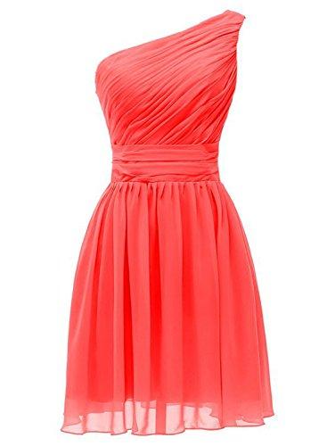 Azbro Women's Chic One Shoulder Ruffled Bridesmaid Dress Watermelon Red