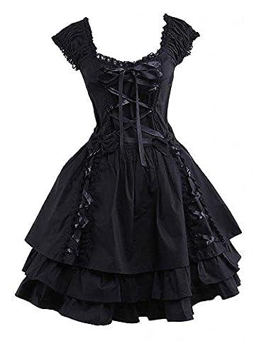Cemavin Gothic Lolita Kleid Black OP Vierkantansatz Kurzarm Rüschen Tiered Lolita einteiliges Kleid