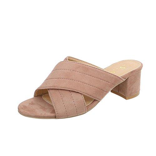 Ital-Design Pantoletten Damen-Schuhe Pantoletten Pump Pantoletten Sandalen & Sandaletten Altrosa, Gr 40, Od-46-