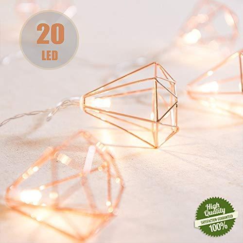 Rosé Gold Metall Laternen Lichterkette, Morbuy Geometrische Deko Pyramidenform Kupfer Batterie Lampe 3M /20LED für Kinderzimmer Innen Wohnzimmer Weihnachten Halloween (Diamant)