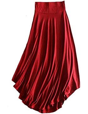 Hibote Falda maxi larga para mujer, estilo retro Algodón Larga Faldas Cintura Alta Irregular Dobladillo Falda...