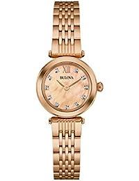 Bulova Diamond 97S116 - Damen Designer-Armbanduhr - Roségoldfarben