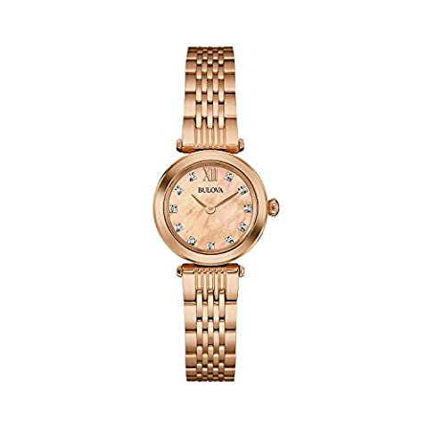 Bulova Ladies Women's Designer Diamond Watch Bracelet - Rose Gold Wrist Watch 97S116