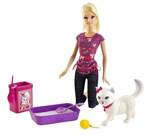 Mattel BDH76 - Barbie und Stubenreines Kätzchen, Puppe mit viel Zubehör