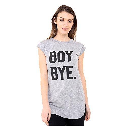 Damen Rundhals Junge Bye bedruckt gekrempelt T-Shirt kurzärmlig Top Kleid Silber Grau