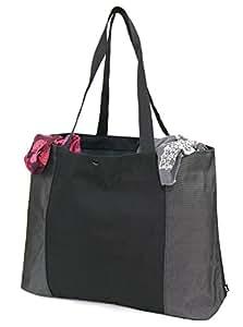 NM - Sac cabas - Polyester 1680D - Chic, pratique et super résistant - Femme - Noir et gris anthracite - 45x33x10 cm