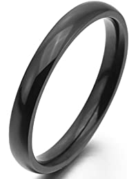 MunkiMix Ancho 3mm Acero Inoxidable Anillo Ring Banda Venda Negro Alianzas Boda Hombre,Mujer