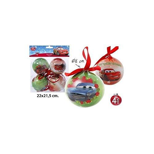 Pack Bolas Decoración Navideña Modelos Surtidos, DISNEY, -CARS-, 4uds.