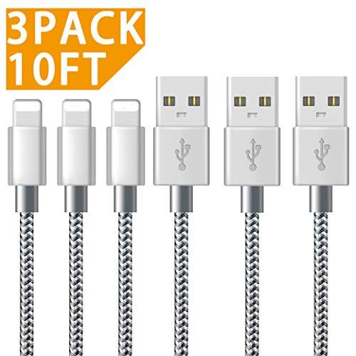 Cable Phone, Chargeur Phone avec Nylon Tressé Câble USB Chargeur Phone (3M/10FT-3Pack,Grey) pour iPhone 8/8 Plus / 7/7 Plus / 6s / 6s Plus / 6/6 Plus/Se / 5s / 5c / 5, Pad 2/3 /4 Mini