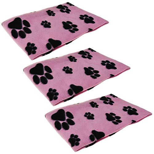 ASAB Haustierdecken, weich, warm, Plüsch, Pfotenabdruck-Design, für Käfig und Hundehütte, Autositz und Sofaschoner, 73 x 70 cm, 3 Stück