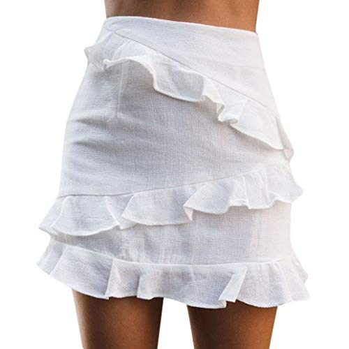 Damen Röcke Frühling Mädchen Sommer Fashion Chic Strandrock Sommerrock Damen Einfarbig Kurzen Strand Mini Rock Volants Röcke Minirock (Color : Weiß, Size : S) - Volant Mini-rock