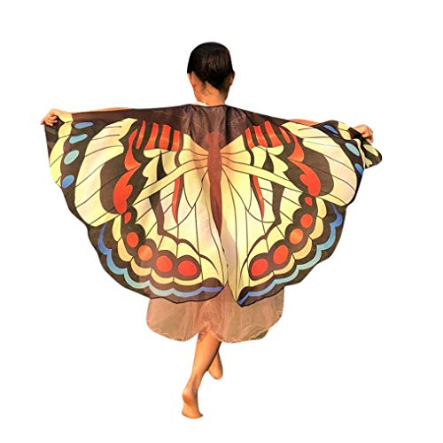 (LOLIAN Kinder Schmetterling Print Flügel Schal Schals Poncho Schmetterling Flügel Kostüm Butterfly Wing Schal Cape TuchVampir Halloween Party Kostüm Cap Kapuze Karneval Fasching)