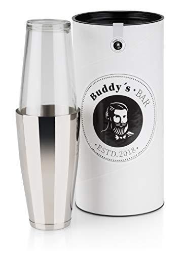 Buddy´s Bar - Boston Shaker, 700 ml Becher + 400 ml Glas, lebensmittelecht, spülmaschinenfest, Edler Cocktailshaker inklusive Geschenkbox, Edelstahl poliert