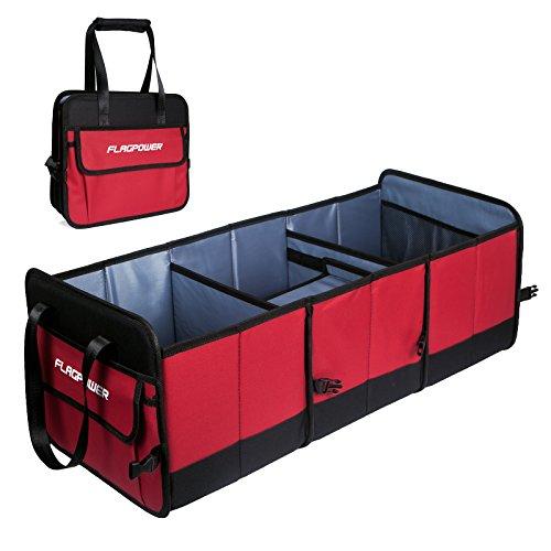 FLAGPOWER Auto Kofferraumtasche KFZ Aufbewahrungstasche Universal Faltbare Auto Kofferraum Organizer Rutschfest Kofferraumtasche + Multi-Abteil für Auto SUV Minivan