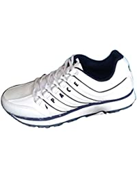 Lakhani Men's White Synthetic Running Sports Shoes, Size : 7