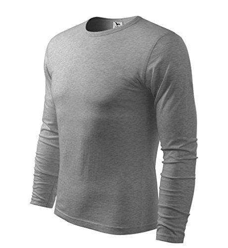 Dress-O-Mat Herren T-SHIRT LangarmShirt Longsleeve dunkel grau melliert