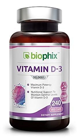 D3 50000 IU 120 Vcaps - Strong Bones Immune Health Support for K-2