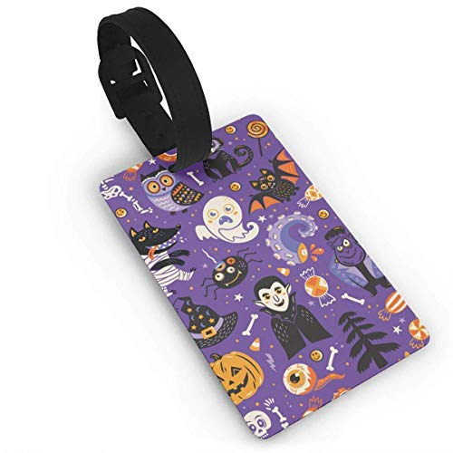 rtoon Halloween Pattern Travel Labels Accessories with Name Card Funny Suitcase Custom Fancy Gift Patterned Airline Handbag PVC Size 2.2'' X 3.7'' ()