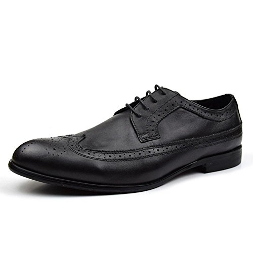 Cuir Business Bullock Respirant Homme Convient Les Pack Wingtip Oxford Chaussures Black
