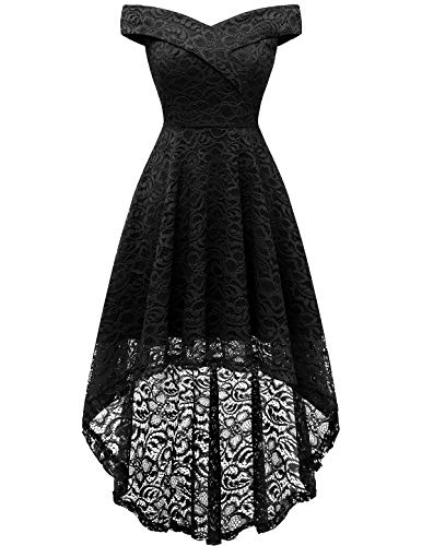 Homrain abiti da donna elegante off spalla abiti a pieghe abiti da sposa in pizzo alto basso abito da cerimonia da sera per banchetti black l