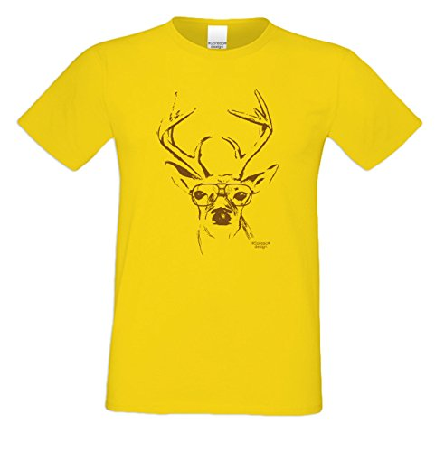 Herren Burschen Fun-Tshirt Outfit Motiv Hirsch mit Brille zur Wiesn Volksfest-Zeit, Dult Bierzelt Oktober-Fest Hirsch-Geweih Geschenk Farbe: gelb Gelb