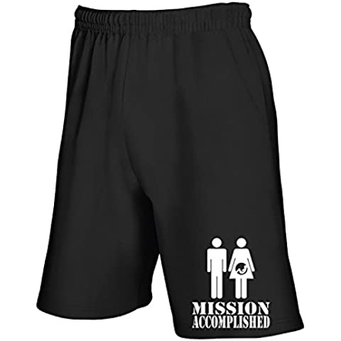 T-Shirtshock - Pantalone Tuta Corto T1042 Mission accomplished fun cool geek - T-shirt Mission Accomplished