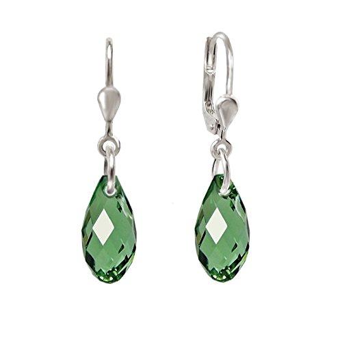 Schöner-SD, 925 Silber Ohrringe mit kleinen Kristallen von Swarovski 13mm Farbe Erinite grün